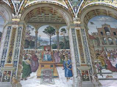 Fresco on walls of the Piccolimini Library